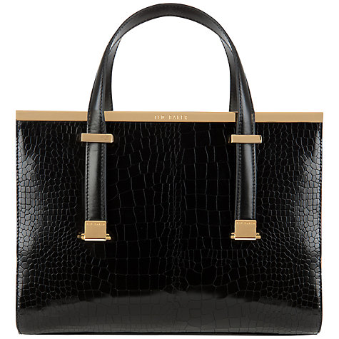 Buy Ted Baker Llana Leather Croc Tote Bag, Black Online at johnlewis.com