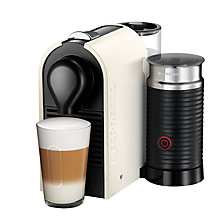 Buy Nespresso U Coffee Machine with Aeroccino by KRUPS, Cream Online at johnlewis.com