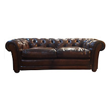 Buy John Lewis Stanford Chesterfield Large Semi-Aniline Leather Sofa, Antique Brown Online at johnlewis.com
