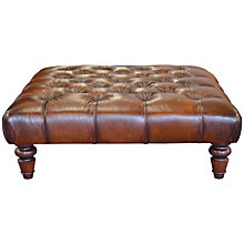 Buy John Lewis Stanford Chesterfield Semi-Aniline Footstool, Antique Brown Online at johnlewis.com