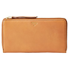 Buy Fossil Sydney Leather Zip Purse, Tan Online at johnlewis.com