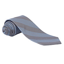 Buy Lauren by Ralph Lauren Check Stripe Silk Tie, Blue Online at johnlewis.com