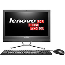 "Buy Lenovo C360 All-in-One Desktop PC, Intel Pentium, 4GB RAM, 1TB, 19.5"", Black Online at johnlewis.com"