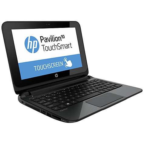 "Buy HP Pavilion TouchSmart 10-e010sa Laptop, AMD A4, 4GB RAM, 500GB, 10.1"" Touch Screen, Black & Silver Online at johnlewis.com"