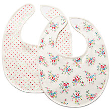 Buy Cath Kidston Mini Notting Hill Rose Baby Bibs, Pack of 2, Cream Online at johnlewis.com