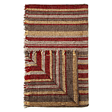 Buy John Lewis Roma Chenille Stripe Throw, Red Online at johnlewis.com