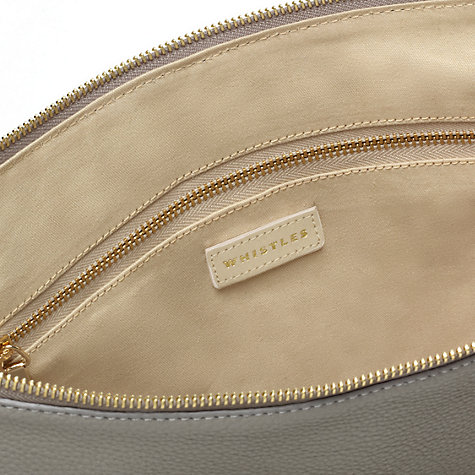 Buy Whistles Naomi Large Hobo Leather Handbag, Grey Online at johnlewis.com