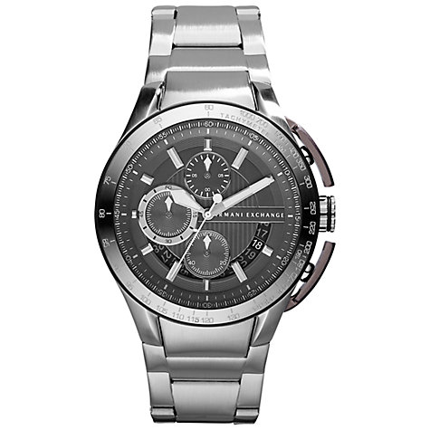Buy Emporio Armani AX1403 Men's Chronograph Round Grey Dial Bracelet Strap, Watch Silver Online at johnlewis.com