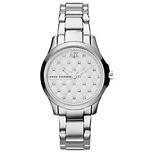 Buy Armani Exchange AX5208 Women's Crystal Quilted Dial Bracelet Strap Watch, Silver Online at johnlewis.com