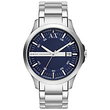 Buy Armani Exchange AX2132 Men's Round Dark Blue Dial Bracelet Strap Watch, Silver Online at johnlewis.com