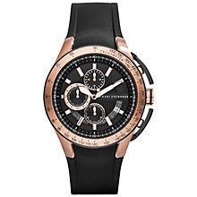 Buy Armani Exchange AX1406 Men's Chonograph Round Dial, Silicon Strap Watch, Black Online at johnlewis.com