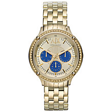 Buy Armani Exchange AX5409 Women's Round Blue Sub Dial Chronograph Bracelet Strap Watch, Gold Online at johnlewis.com