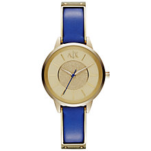 Buy Armani Exchange AX5355 Women's Round Gold Dial Leather Strap Watch, Blue Online at johnlewis.com