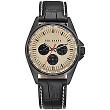 Buy Ted Baker Men's Hamilton Chronograph Round Dial Leather Strap Watch Online at johnlewis.com