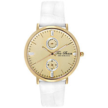 Buy Ted Baker TE2105 Twin Sub Dial Leather Strap Watch, White Online at johnlewis.com