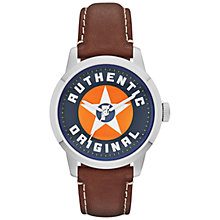 Buy Fossil FS4898 Men's Townsman Star Graphic Blue Round Dial Leather Strap Watch, Brown Online at johnlewis.com