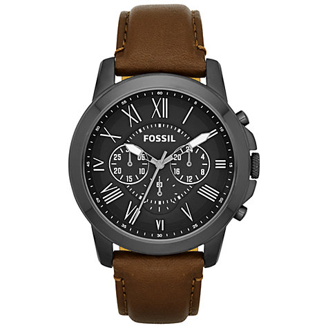 Buy Fossil FS4885 Men's Grant Chronograph Round Black Dial Leather Strap Watch,  Brown Online at johnlewis.com