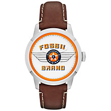 Buy Fossil FS4896 Men's Townsman Fossil Wings Logo Round Dial  Leather Strap Watch, Brown Online at johnlewis.com