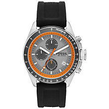 Buy Fossil CH2900 Men's Decker Chronograph Orange Trim Round Dial Leather Strap Watch, Black Online at johnlewis.com