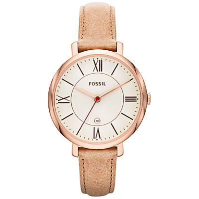 Fossil ES3487 Women's Jacqueline Three-Hand Leather Strap Watch, Sand/Cream