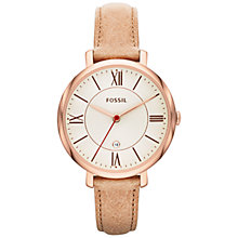 Buy Fossil ES3487 Women's Jacqueline Three-Hand Round Dial Leather Strap Watch, Sand Online at johnlewis.com