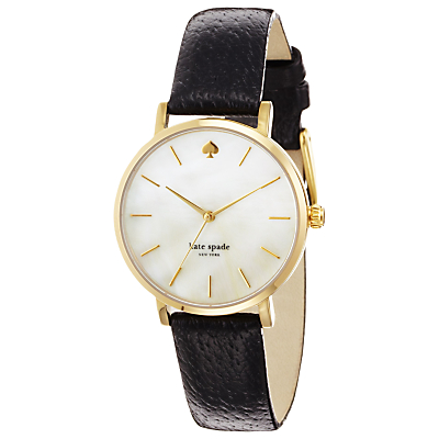 kate spade new york 1YRU0010 Women's Metro Mother of Pearl Dial Leather Strap Watch, Black/Silver
