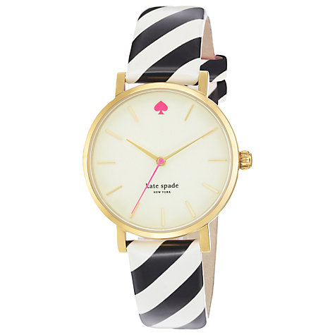 Buy kate spade new york 1YRU0181 Women's Metro Candy Stripe Leather Strap Watch, Black / White Online at johnlewis.com