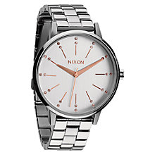 Buy Nixon A099-1519 Women's Kensington Crystal Dial Watch, Silver / Rose Gold Online at johnlewis.com