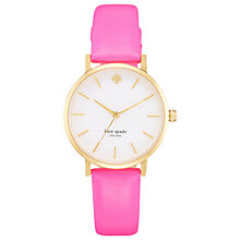 Buy kate spade new york 1YRU0180 Women's Metro Mother of Pearl Dial Leather Strap Watch, Neon Pink Online at johnlewis.com