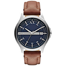 Buy Armani Exchange AX2133 Men's Smart Blue Round Dial Leather Strap Watch, Brown Online at johnlewis.com
