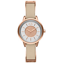 Buy Armani Exchange AX5353 Women's Smart Leather Strap Watch, Rose Gold Online at johnlewis.com