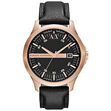 Buy Armani Exchange AX2129 Men's Smart Leather Strap Rose Gold Watch Online at johnlewis.com