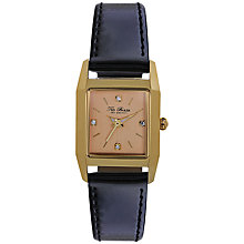Buy Ted Baker Women's Rectangle Rose Gold Crystal Set Dial Leather Strap Watch Online at johnlewis.com