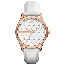 Buy Armani Exchange AX5205 Women's Crystal Quilted Dial Leather Strap Watch, White Online at johnlewis.com