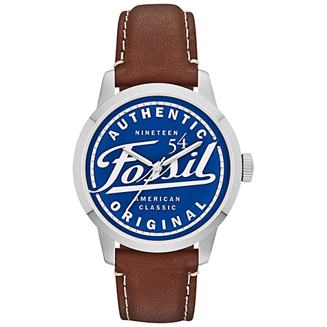 Buy Fossil FS4897 Men's Townsman American Classic Round  Blue Dial Leather Strap Watch, Brown Online at johnlewis.com