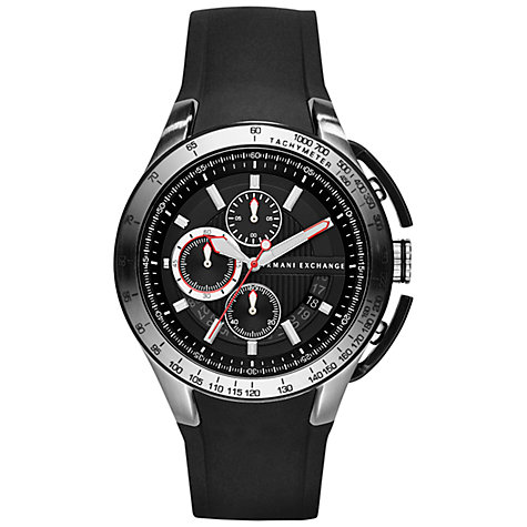 Buy Armani Exchange AX1400 Men's Fashion Chronograph Round Dial Silicon Strap Watch, Black Silver Online at johnlewis.com