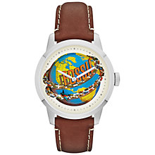 Buy Fossil FS4899 Men's Townsman Around the World Graphic  Round Dial Leather Strap Watch, Brown Online at johnlewis.com