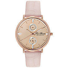Buy Ted Baker TE2104 Women's Twin Sub Dial Round Leather Strap Watch, Pink Online at johnlewis.com