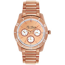 Buy Ted Baker TE4084 Women's Chronograph Crystal Set Round Dial Bracelet Strap Watch, Rose Gold Online at johnlewis.com
