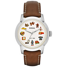 Buy Fossil LE1018 Men's Townsman Retro Icons Round Dial Leather Strap Watch, Brown Online at johnlewis.com