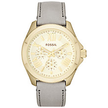 Buy Fossil AM4529 Women's Cecile Chronograph Round Dial Leather Strap Watch, Grey Online at johnlewis.com