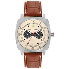 Buy Ted Baker TE1105 Men's Twin Sub Round Dial Leather Strap Watch, Brown Online at johnlewis.com