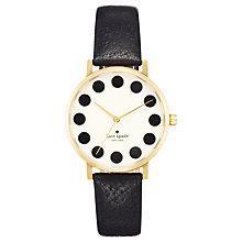 Buy kate spade new york 1YRU0107 Women's Metro Dot Dial Leather Strap Watch, Black/White Online at johnlewis.com