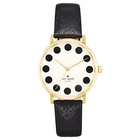 Buy kate spade new york 1YRU0107 Women's Metro Dot Dial Leather Strap Watch, Black Online at johnlewis.com