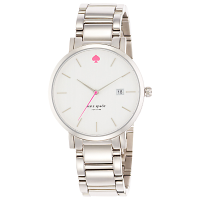 kate spade new york 1YRU0008 Women's Gramercy Grand Bracelet Strap Watch, Silver/White