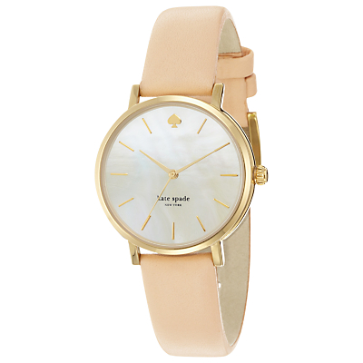kate spade new york 1YRU0073 Women's Metro Mother of Pearl Dial Leather Strap Watch, Nude/Silver
