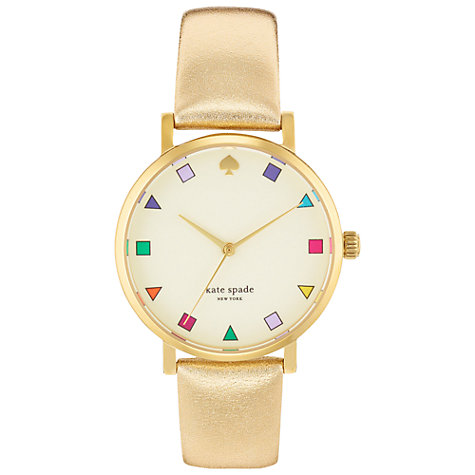 Buy kate spade new york 1YRU0192 Women's Metro Metallic Effect Leather Strap Watch, Gold Online at johnlewis.com