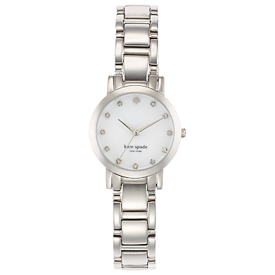 kate spade new york 1YRU0146 Women's Gramercy Mini Crystal Bracelet Strap Watch, Silver/White