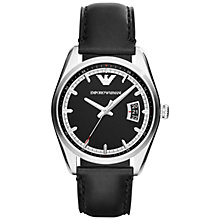 Buy Emporio Armani AR6014 Men's New Tazio Stainless Steel Round Dial, Leather Strap Watch, Black Online at johnlewis.com