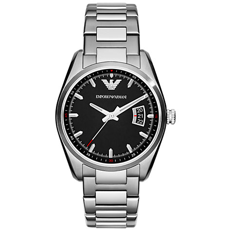 Buy Emporio Armani AR6019 Men's New Tazio Chronograph Round Dial Bracelet Strap Watch, Silver Online at johnlewis.com